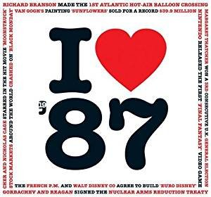 1987 BIRTHDAY or ANNIVERSARY GIFT - I Love 1987 Heart Music Compilation Hits CD and Retro Greeting Card