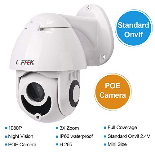 Security Camera,LEFTEK PTZ POE Camera Outdoor Mini H.265 Network 2.0MP 1080P 3X Zoom 3.5-10.5mm 2 IR-Cut Light Outdoor IP66 Weatherproof Camera