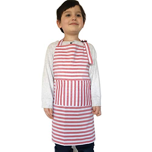 Dapper&Doll Kids Apron for Cooking and Dress Up Clothes - Kitchen Baking Toy Gifts for Girls, Boys, Toddlers (Red -