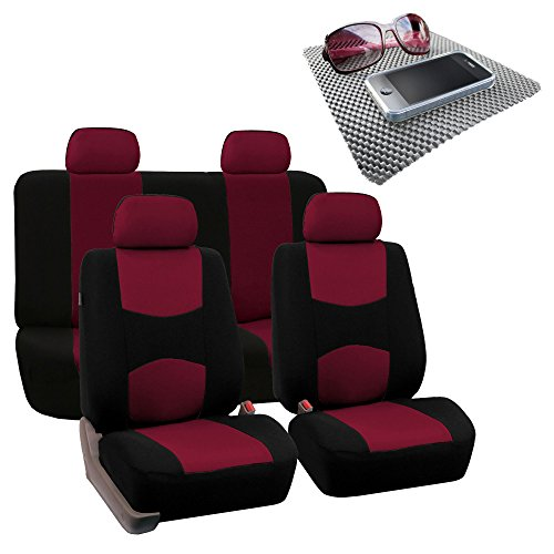 FH Group Bright Flat Cloth Full Set Car Seat Covers, Burgundy/Black- Fit Most Car, Truck, Suv, or Van