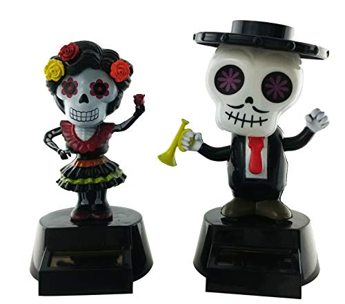 Milwood Brothers Halloween Party Day of The Dead Solar Powered Dancing Toys (Set of 2) (Dancing Skeleton Toy)