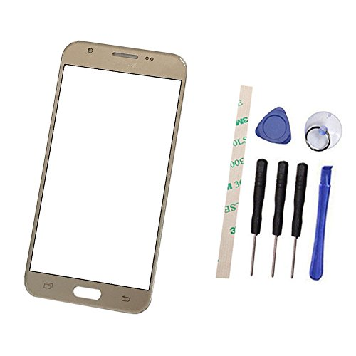 Outer Screen Front Glass Lens Replacement For Galaxy J7 Prime 2017 J727 J727U SM-J727T SM-J727T1 J727R4 J727V J727P Sky Pro SM-J727A SM-J727VL 5.5(Not LCD and Not digitizer) with Adhesive(gold)