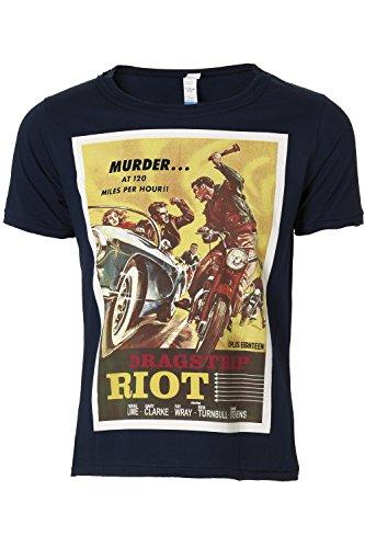 Eron Apparel Men's Retro Movies Dragstrip Riot Vintage Poster Scoop Neck T Shirt Navy Blue M