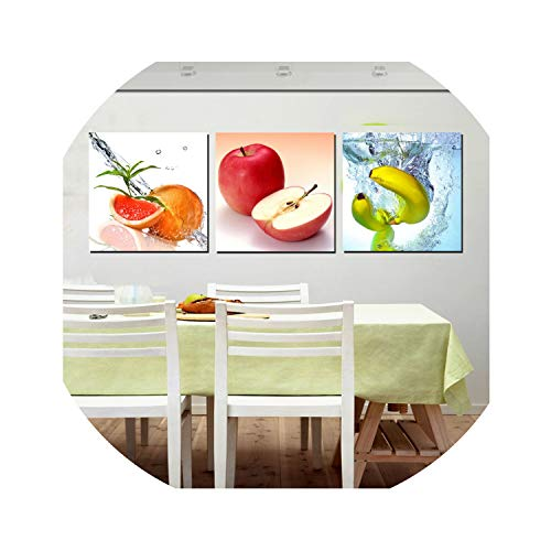 three thousand 3 Panels Art Decor Wall Pictures Fresh Fruit Oil Painting Printed Canvas for Kitchen Dining Room Cuadros Decoracion No Frame,50x50cmx3pcs