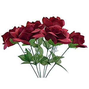 2 Bushes Open Rose Artificial Silk Flowers Bouquet 6-7203 Dark RED 36