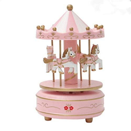 OKOK Vintage Pink Wooden Merry-Go-Round Horse Christmas Birthday Gift Carousel Music Box, Clockwork Mechanism Laxury Carousel Music Box