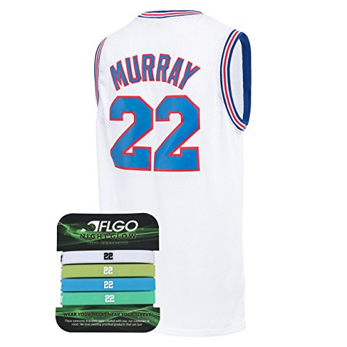 AFLGO Murray Space Jam Jersey Basketball Jersey Include Set Glow in The Dark Wristbands S-XXL White