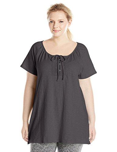 (Just My Size Women's Plus-Size Slub Jersey Crochet Trim Tunic with Drawcord, Black, 4X)