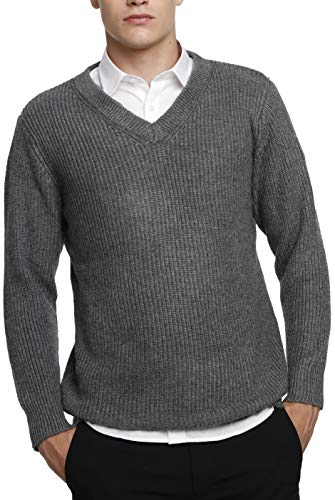 Liny Xin Men's Winter Cashmere Knitted Casual Crew Neck Long Sleeve Loose Wool Pullover Sweater Tops (M, Grey)