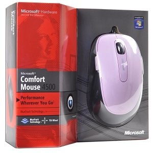 Microsoft Comfort Mouse 4500 5-Button BlueTrack Scroll USB Mouse (Pink) - Optical Power w/Laser