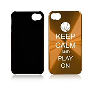 Apple iPhone 4 4S Gold A1226 Aluminum Hard Back Case Cover Keep Calm and Play On Basketball