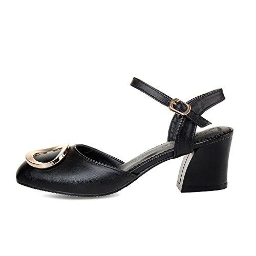 Solid Buckle Toe Material Sandals Kitten Black Soft Heels Closed AgooLar Women's q8w6xwa