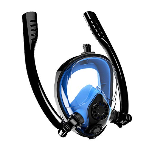 Aven Snorkel Mask Full Face K2 Free Breathing Backstroke Swimming [Double Tubes] 180° Panoramic View Easy Breath Anti-Fog Anti-Leak with Camera Mount ()
