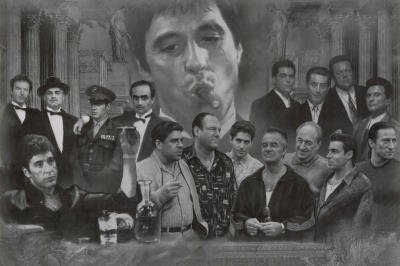 Gangster Collage Poster ~ Scarface, Goodfellas, Godfather, Sopranos