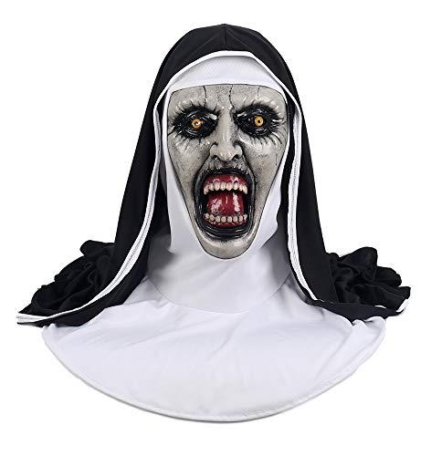 Shancon Horrible Cosplay Nun Mask Costume Latex Mask Scare Terrifying Sister Helmet Halloween for $<!--$22.90-->