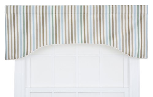 Ellis Curtain Line-Up Stripe Print Lined Arched Valance, 50 by 17-Inch, Latte