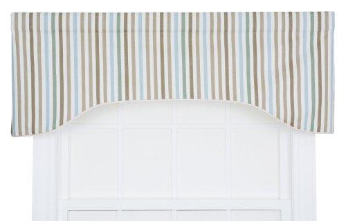 A.L. Ellis Line-Up Stripe Print Lined Arched Valance, 50 ...