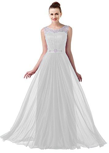 VaniaDress Women Elegnat Rhinestone Bridesmaid Evening Dress Prom Gown V004LF White US6 from VaniaDress