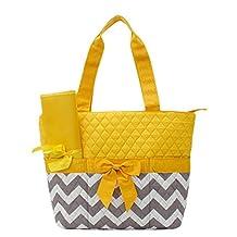 Handbag Inc Quilted Chevron Stripe Diaper Bag Baby Changing Pad Cosmetic Bag Yellow
