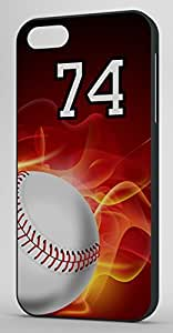 Flaming Baseball Sports Fan Player Number 74 Black Plastic Decorative iPhone 6 PLUS Case