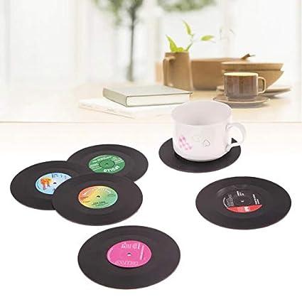 Amazon Com Multibox 6pcs Set Retro Vinyl Drink Coasters Table Cup