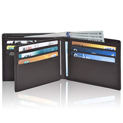 Clifton Heritage RFID Bifold Leather Wallets for Men - Handmade Blocking Genuine Leather Slim Front Pocket Mens Wallet with ID Window
