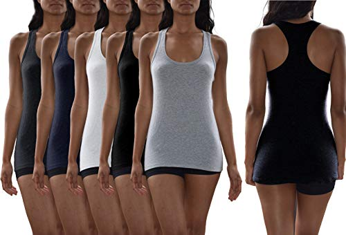 Sexy Basics Women's 5 Pack Racerback PowerFlex Tank Tops/Cotton -Spandex Stretch Color Tank Tops (5 Pack- Black/White/Grey/Navy/Charcoal, Large)