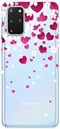 Herbests Kompatibel mit Samsung Galaxy S20 Plus Hülle Silikon Case Transparent Silikon Schutzhülle mit Tiere Muster Ultradünn Stoßfest Rückschale Tasche Crystal Clear Soft Case,Liebe Herz