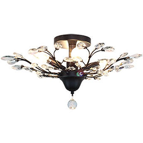 IJ INJUICY Crystal Chandelier K9 Edison Led Ceiling Lighting for Living & Bedroom Room (Black Dia.24.4 (Metal Ceiling Medallions)