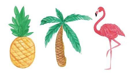 Set of 5 Waterproof Temporary Fake Tattoo Stickers Pink Flamingo Birds Yellow Pineapple Cartoon