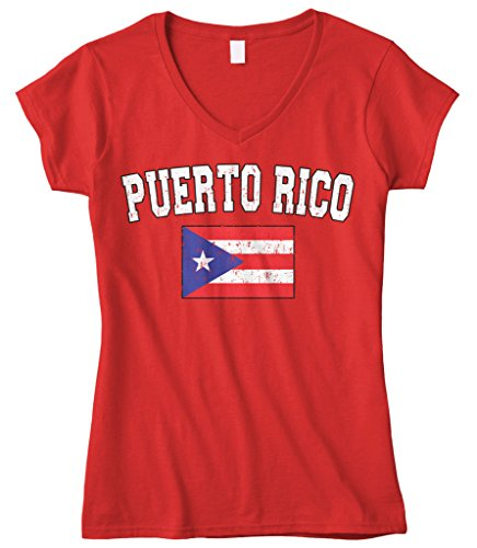 fan products of Cybertela Women's Faded Distressed Puerto Rico Flag Fitted V-Neck T-Shirt (Red, Small)