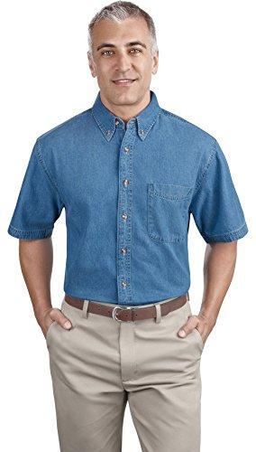 Port & Company Mens Short Sleeve Value Denim Shirt, Faded Blue, X-Large
