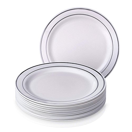Disposable Party Plates (Pack Of 60): Hard Plastic Tableware, White Fancy China-Like Design With Elegant Silver Rim, Heavyweight Dinner Plates (10.5''), Wedding Dinnerwar
