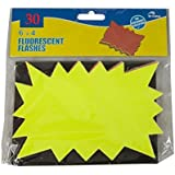 """50 x 6""""x 4"""" FLUORESCENT STARS - Assorted neon flash cards - FREE DELIVERY"""