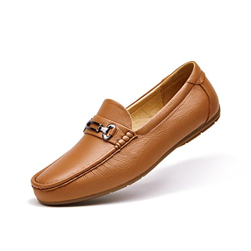 ZRO Men's Classic Bit Slip-On Casua Leather Loafers Driving Shoes LIGHT BROWN US 10