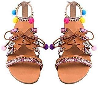 Evedaily Donna Sandali Estate Boemo Stile Etnico Sfera Ricamata Fibbia Sandali Piatti con Cinturini Colorati Open Toe Sandali 39)