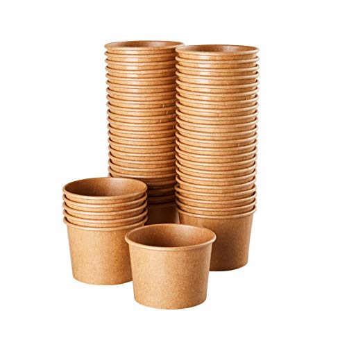 Ice Cream Sundae Cups - 50-Piece Disposable Kraft Paper Dessert Ice Cream Yogurt Bowls Party Supplies, 5-Ounce, Brown -