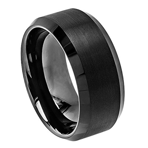 10mm Tungsten Carbide Black Enamel Beveled edge Brushed Center High Wedding Band Ring For Men Or Ladies