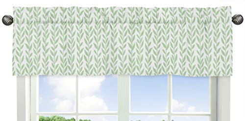 Sweet Jojo Designs Green and White Leaf Floral Window Treatment Valance – Boho Farmhouse Sunflower Collection