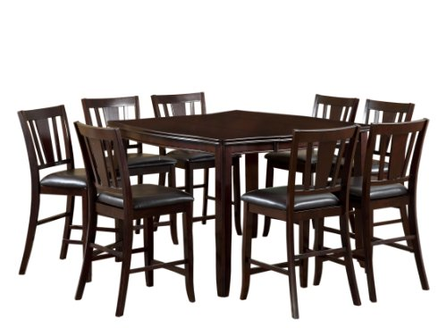 Furniture of America Anlow 7-Piece Counter Height Table Set with 16-Inch Leaf, Espresso Finish (Counter Table Espresso)