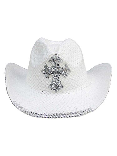 (White Straw Cowboy Hat with Sequin Cross)