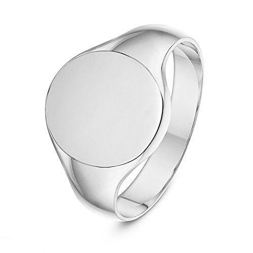 LANDA JEWEL Unisex Sterling Silver Oval Shape Heavy Weight Polished Signet Ring 12x14mm - Mens Ring Signet Oval