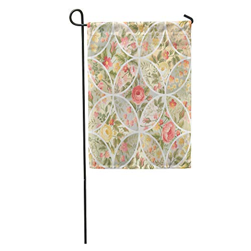 Semtomn Garden Flag Colorful Quilt Patchwork Pattern Roses Pink Blossom Brunch Circle Floral Home Yard Decor Barnner Outdoor Stand 12x18 Inches Flag
