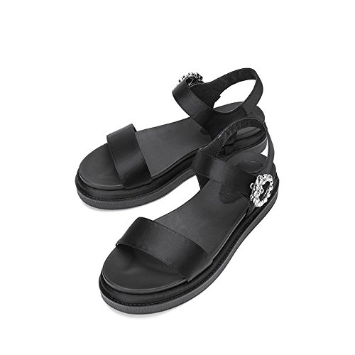 DHG con Tacchi piatti alla casual estivi donna Nero tacco Sandali basso 37 alti Sandali Sandali da basso tacco Pantofole a moda qwrxqTPX