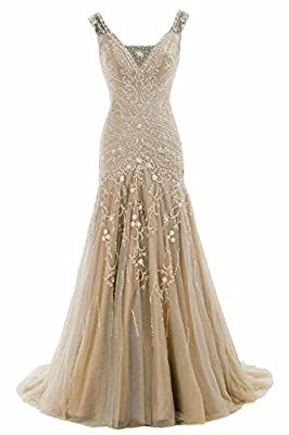 V Neck Beaded Mermaid Prom Dress Long Bridal Dress Lace-up Back with Train