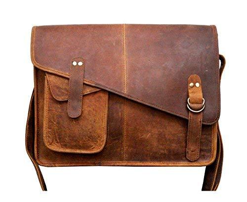 (SR MART Buffalo Leather Laptop Messenger Bag Office Briefcase College Bag for Men and Women (14 inch))