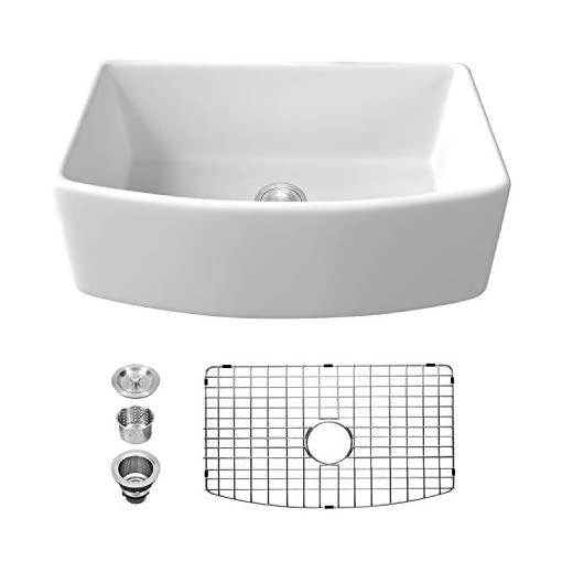 Farmhouse Kitchen 30 Farmhouse Sink White – Sarlai 30 Inch Kitchen Sink Arch Edge Curved Apron Front Ceramic Porcelain Fireclay Single… farmhouse kitchen sinks