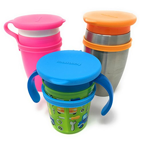(Koaii Baby Custom Replacement Lids Compatible for All Munchkin Miracle 360 Cups. More Color Combination Available. Set of Three in Pink, Blue &)