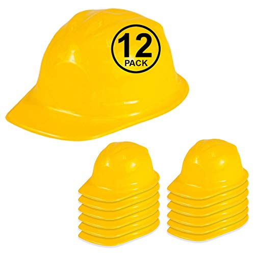 Dress Up Construction Hat - 12 Pack - Plastic Construction Hats by Funny Party Hats