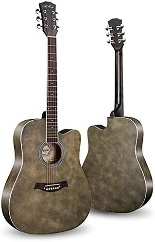 軽やかで安定したギター ベニヤ初心者ギターフェイス単一のエントリピアノ練習アコースティックギター 持ち運びや収納に便利です (色 : E, Size : 41 inches)